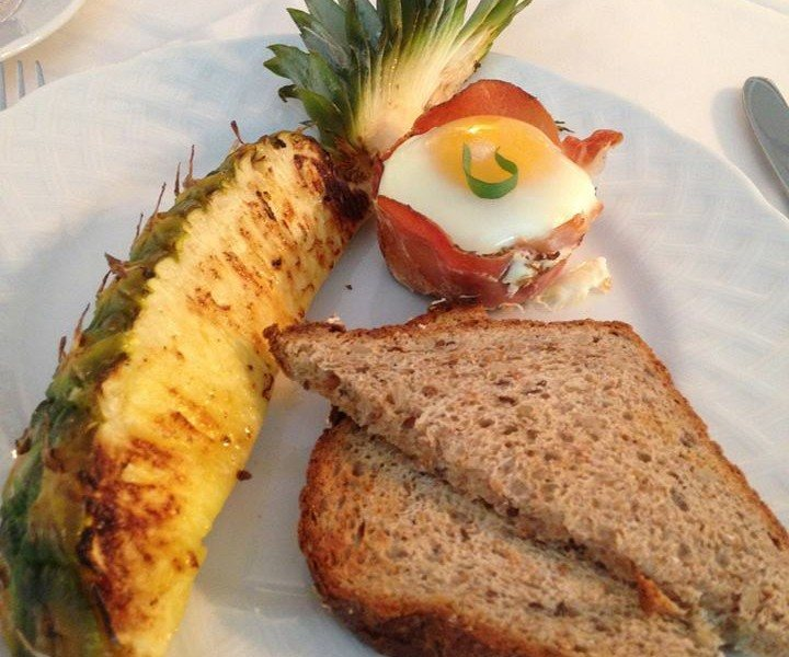 Prosciutto Wrapped Eggs w/ Grilled Pineapple