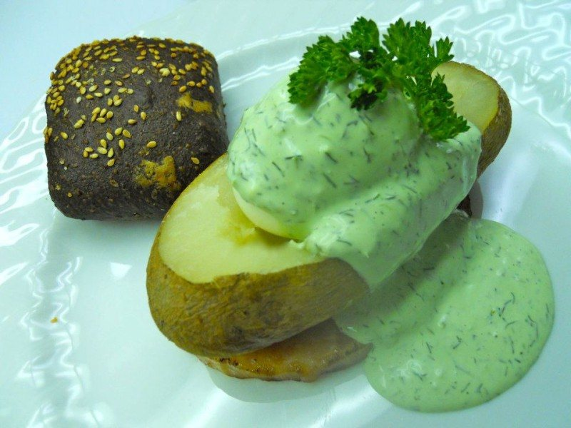 Baked Potato Boat w/ Green Eggs