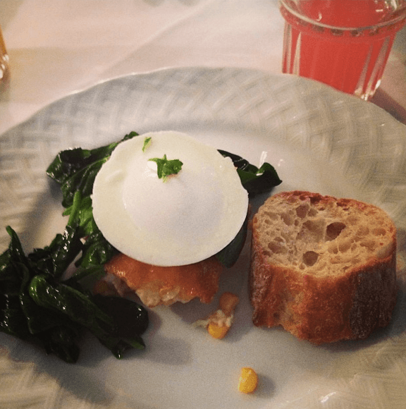 Poached Egg on Southern Corn Pudding