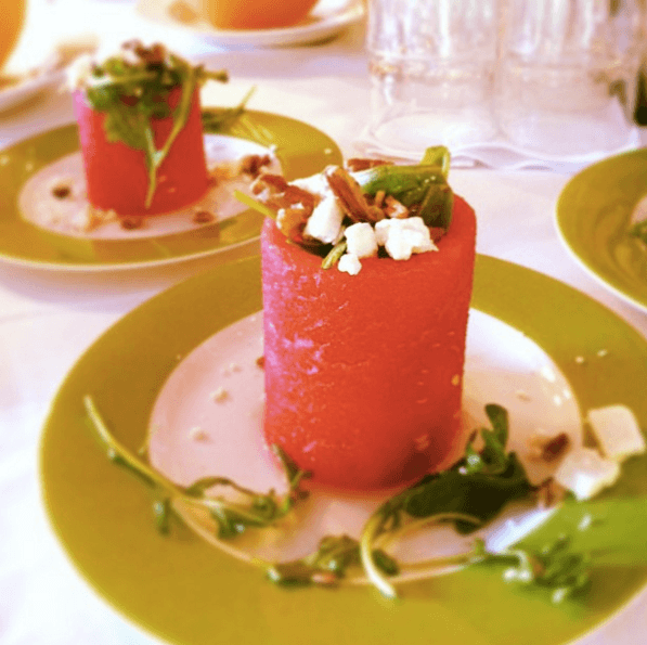 Watermelon Cup w/ Arugula, Feta and Walnuts