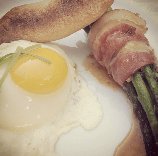 Bacon Wrapped Asparagus Bundle & Sunny Eggs