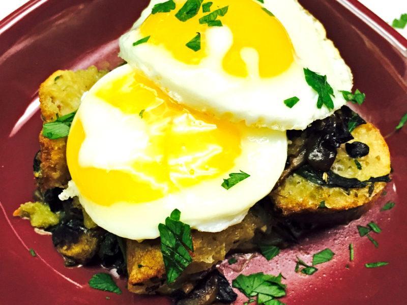 Mushroom & Spinach Strata w/ Sunny Eggs