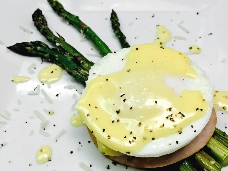 Poached Egg atop Asparagus & Ham w/ Hollandaise Sauce